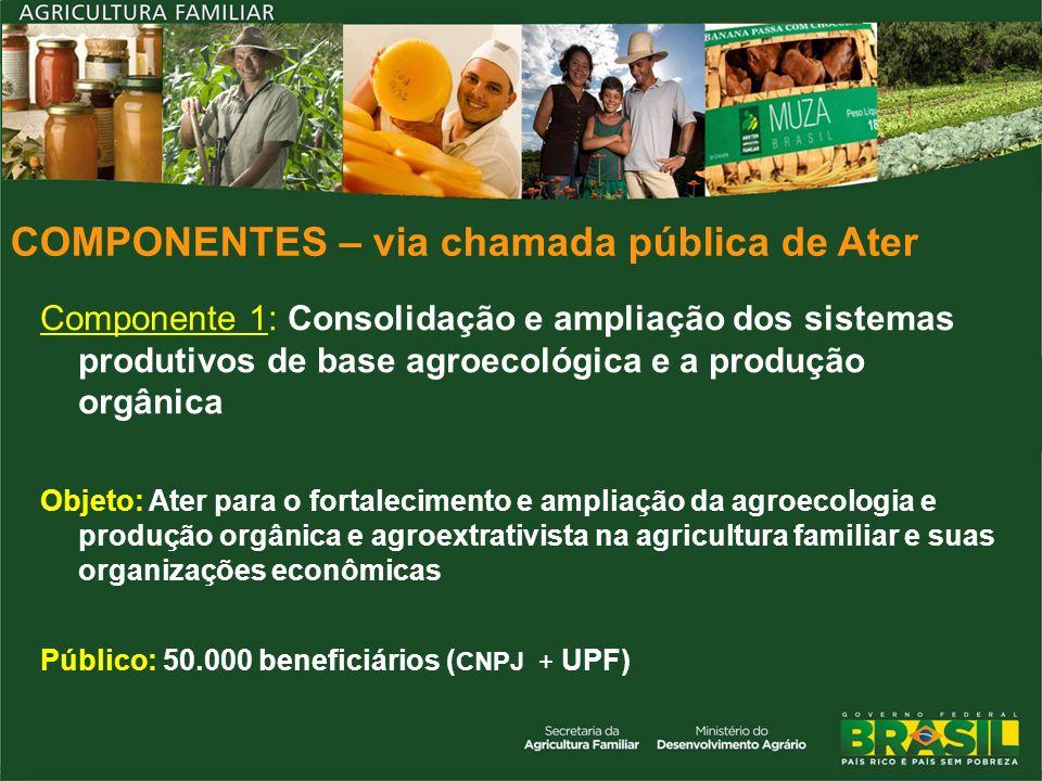 COMPONENTES – via chamada pública de Ater Componente 1: Consolidação e ampliação dos sistemas produtivos de base agroecológica e a produção orgânica O