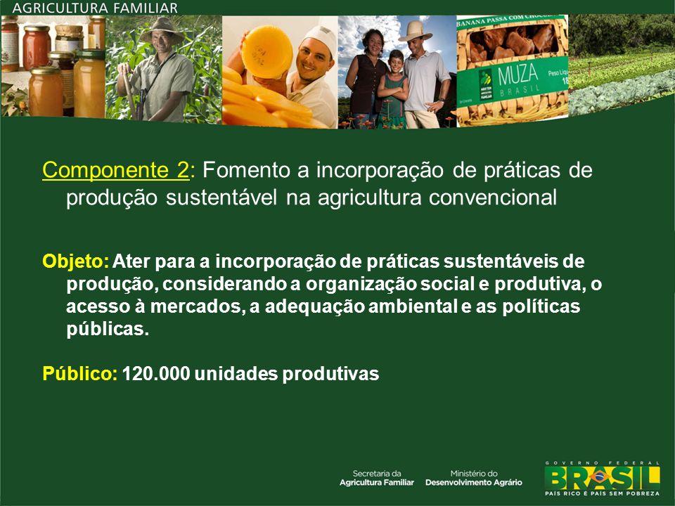 Componente 2: Fomento a incorporação de práticas de produção sustentável na agricultura convencional Objeto: Ater para a incorporação de práticas sust