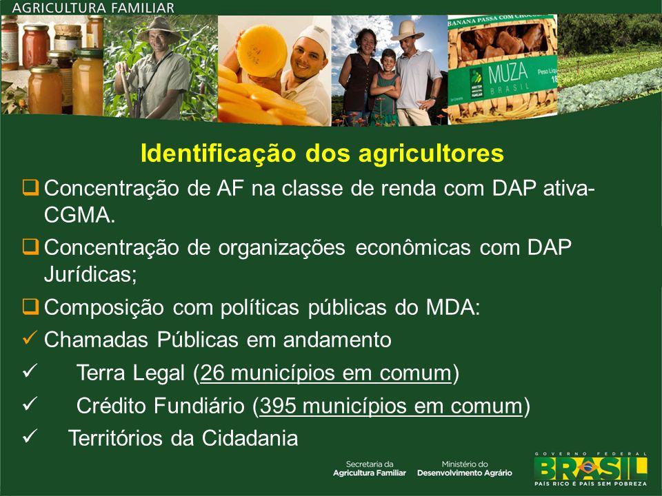 Identificação dos agricultores Concentração de AF na classe de renda com DAP ativa- CGMA. Concentração de organizações econômicas com DAP Jurídicas; C