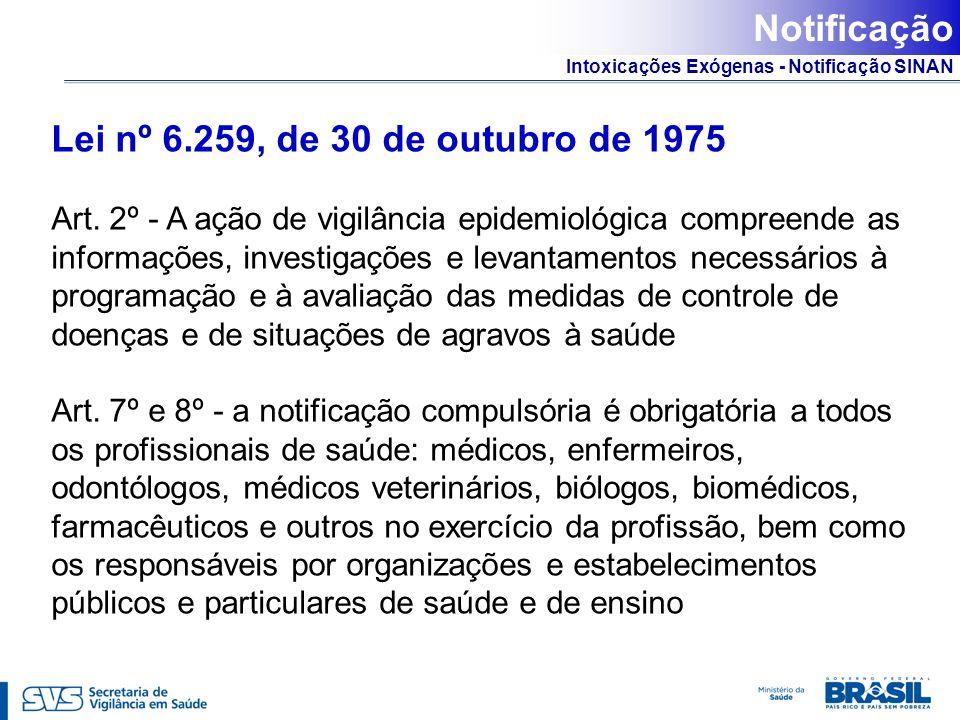 Intoxicações Exógenas - Notificação SINAN Lei nº 6.259, de 30 de outubro de 1975 Art. 2º - A ação de vigilância epidemiológica compreende as informaçõ
