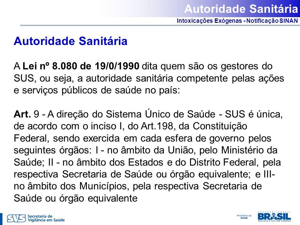 Intoxicações Exógenas - Notificação SINAN Autoridade Sanitária A Lei nº 8.080 de 19/0/1990 dita quem são os gestores do SUS, ou seja, a autoridade san