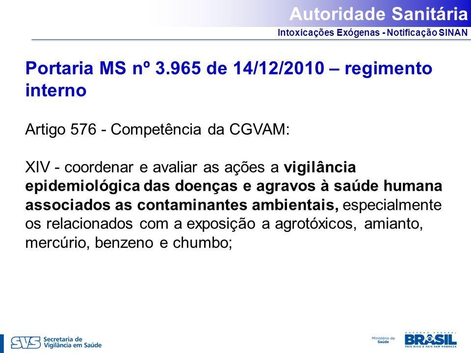 Intoxicações Exógenas - Notificação SINAN Portaria MS nº 3.965 de 14/12/2010 – regimento interno Artigo 576 - Competência da CGVAM: XIV - coordenar e