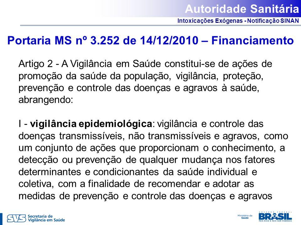 Intoxicações Exógenas - Notificação SINAN Portaria MS nº 3.252 de 14/12/2010 – Financiamento Artigo 2 - A Vigilância em Saúde constitui-se de ações de
