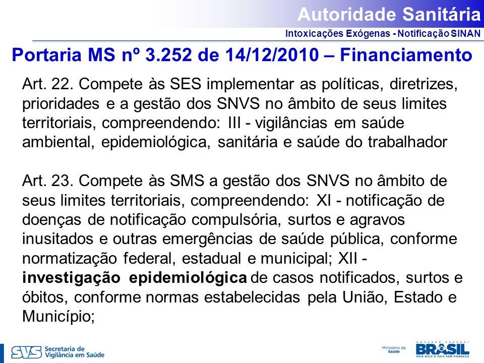 Intoxicações Exógenas - Notificação SINAN Portaria MS nº 3.252 de 14/12/2010 – Financiamento Art. 22. Compete às SES implementar as políticas, diretri