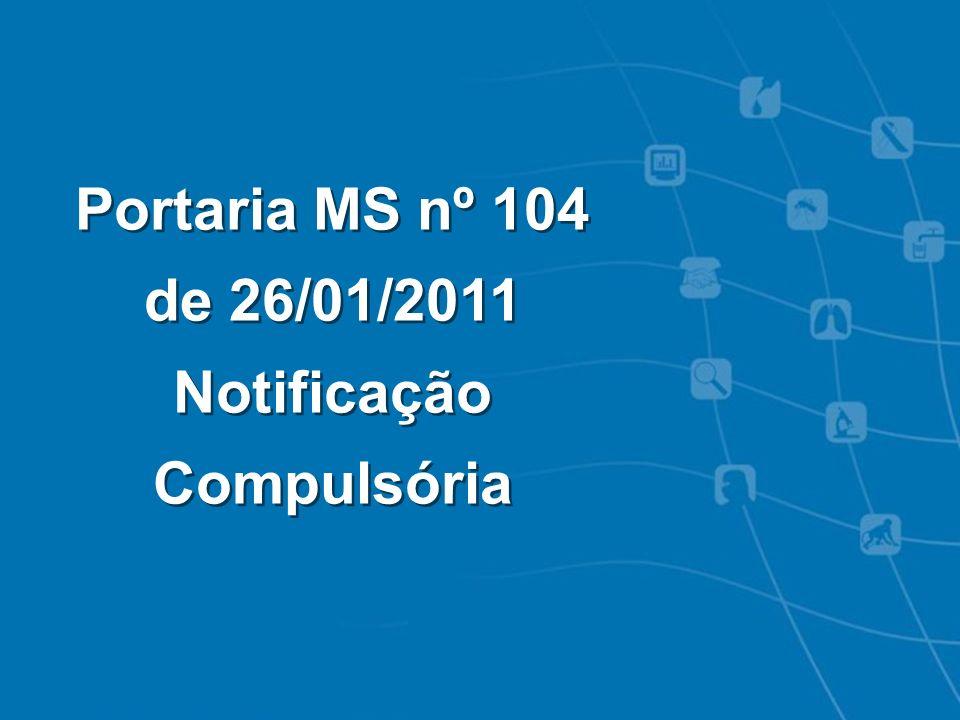 Intoxicações Exógenas - Notificação SINAN Portaria MS nº 104 de 26/01/2011 Notificação Compulsória Portaria MS nº 104 de 26/01/2011 Notificação Compul