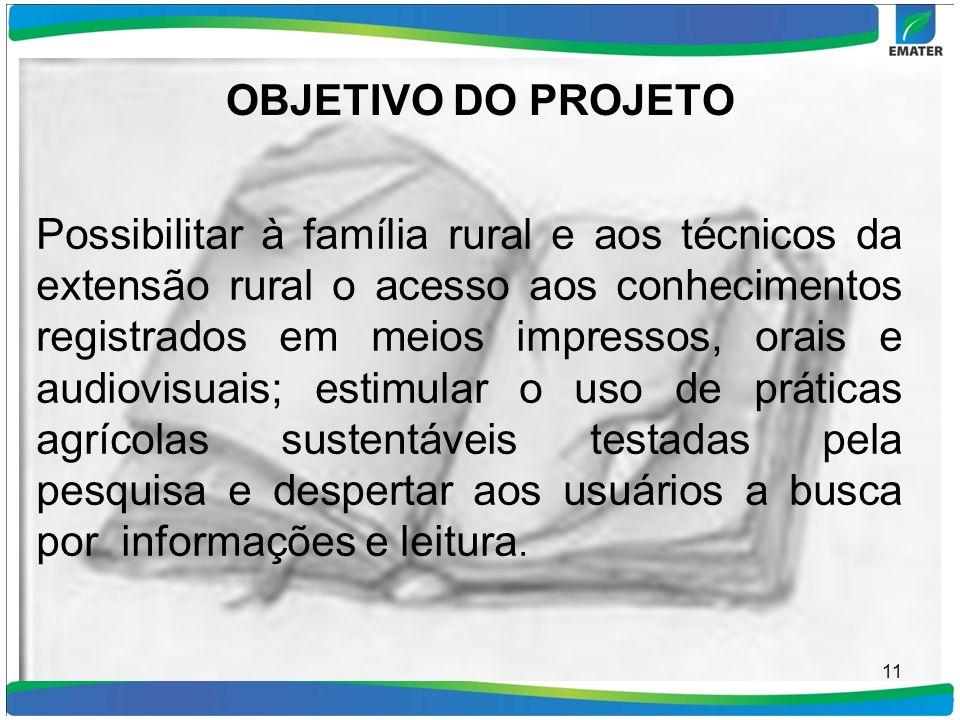 OBJETIVO DO PROJETO Possibilitar à família rural e aos técnicos da extensão rural o acesso aos conhecimentos registrados em meios impressos, orais e a