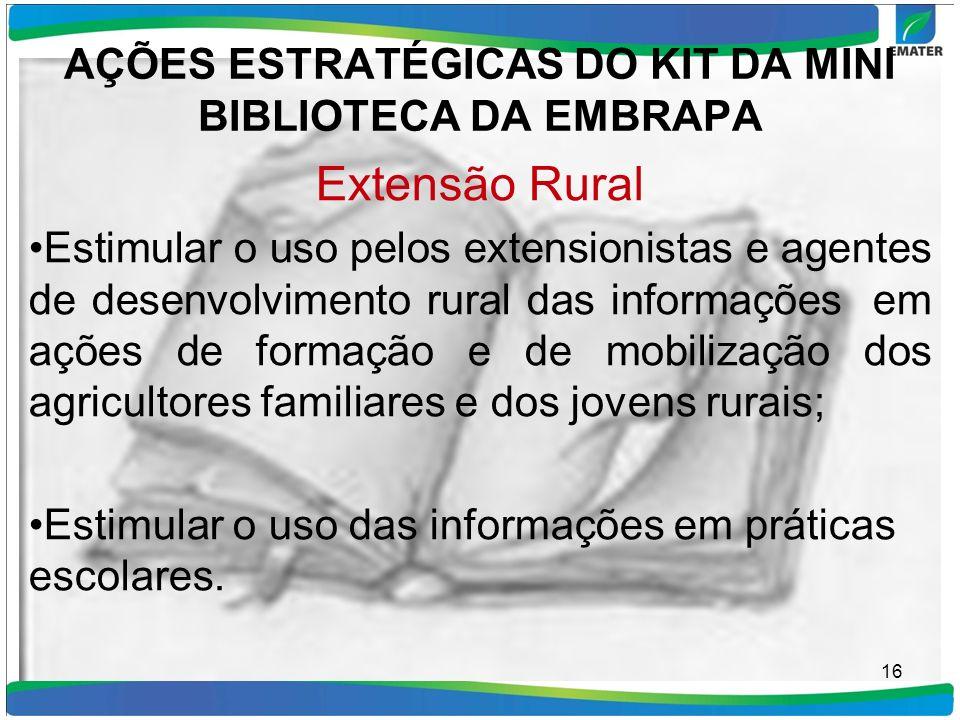 AÇÕES ESTRATÉGICAS DO KIT DA MINI BIBLIOTECA DA EMBRAPA Extensão Rural Estimular o uso pelos extensionistas e agentes de desenvolvimento rural das inf