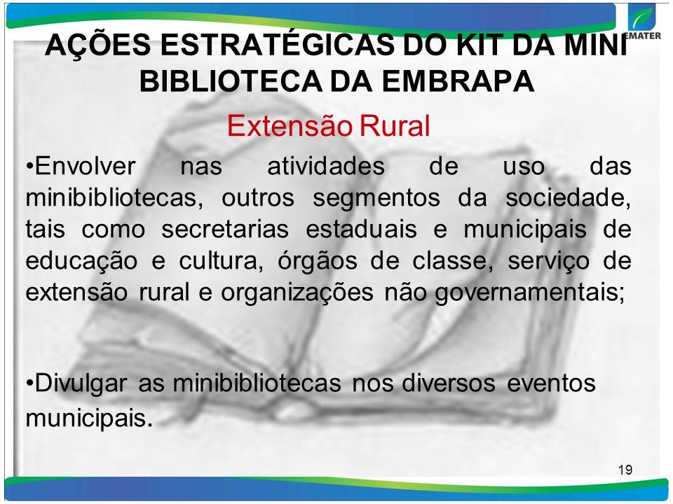 AÇÕES ESTRATÉGICAS DO KIT DA MINI BIBLIOTECA DA EMBRAPA Extensão Rural Envolver nas atividades de uso das minibibliotecas, outros segmentos da socieda