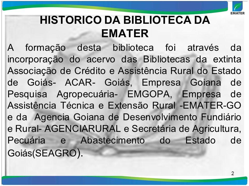 HISTORICO DA BIBLIOTECA DA EMATER A formação desta biblioteca foi através da incorporação do acervo das Bibliotecas da extinta Associação de Crédito e