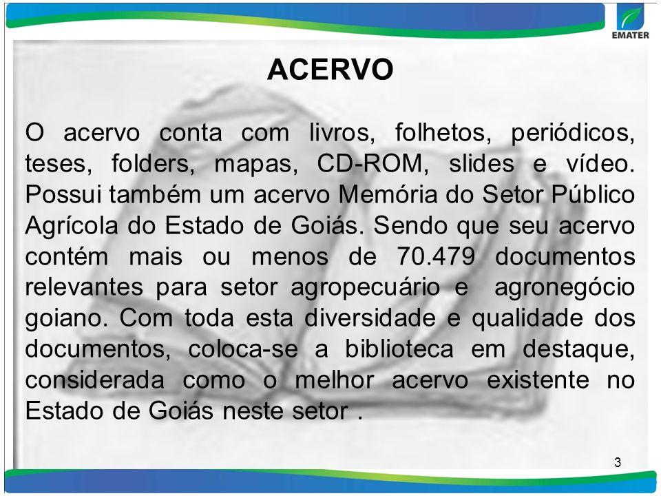 SERVIÇOS E CONSULTAS A Biblioteca está à disposição dos empregados da EMATER, SEAGRO e outras instituições e público em geral durante o período de seu expediente normal.