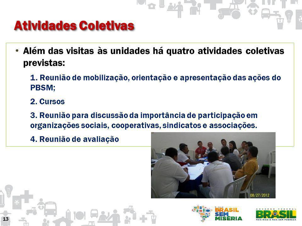 Atividades Coletivas 13 Além das visitas às unidades há quatro atividades coletivas previstas: 1. Reunião de mobilização, orientação e apresentação da