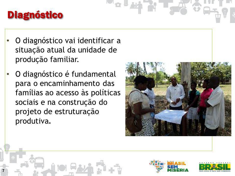 O diagnóstico vai identificar a situação atual da unidade de produção familiar. O diagnóstico é fundamental para o encaminhamento das famílias ao aces
