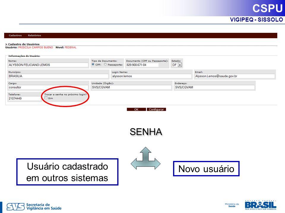 VIGIPEQ - SISSOLO SENHA Usuário cadastrado em outros sistemas Novo usuário CSPU