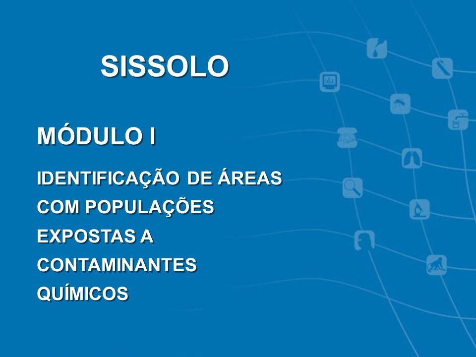 VIGIPEQ - SISSOLO SISSOLO MÓDULO I IDENTIFICAÇÃO DE ÁREAS COM POPULAÇÕES EXPOSTAS A CONTAMINANTES QUÍMICOS SISSOLO MÓDULO I IDENTIFICAÇÃO DE ÁREAS COM