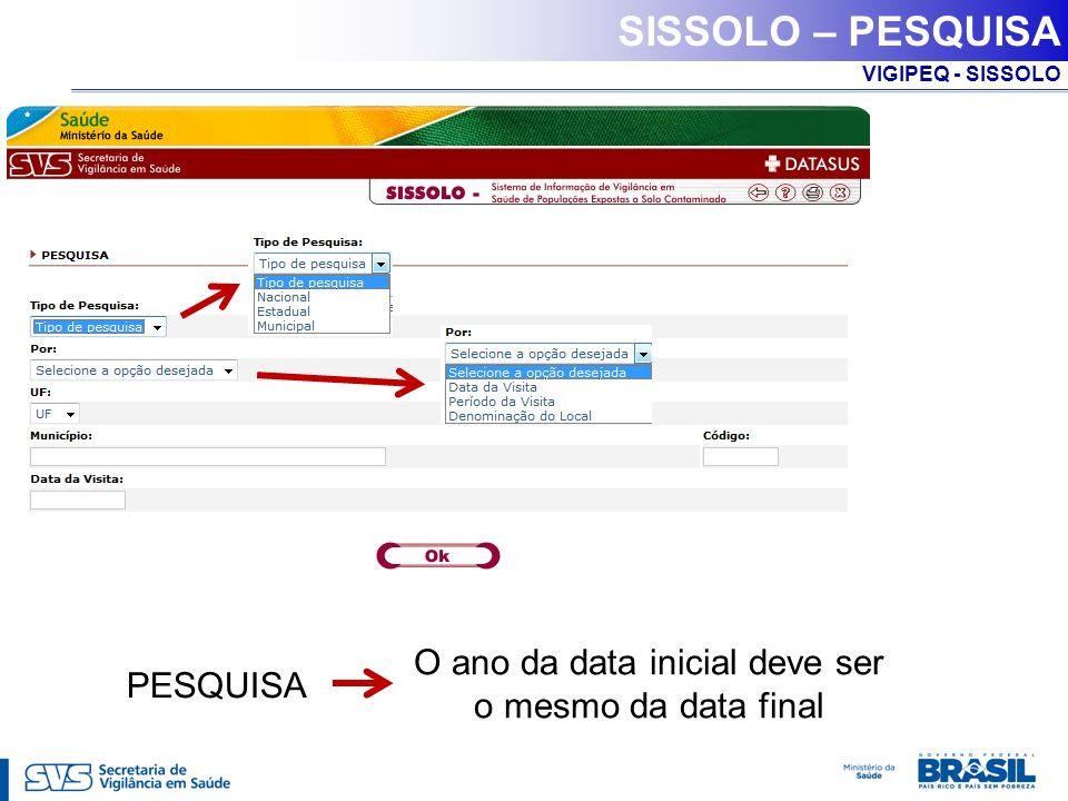 VIGIPEQ - SISSOLO SISSOLO – PESQUISA O ano da data inicial deve ser o mesmo da data final PESQUISA