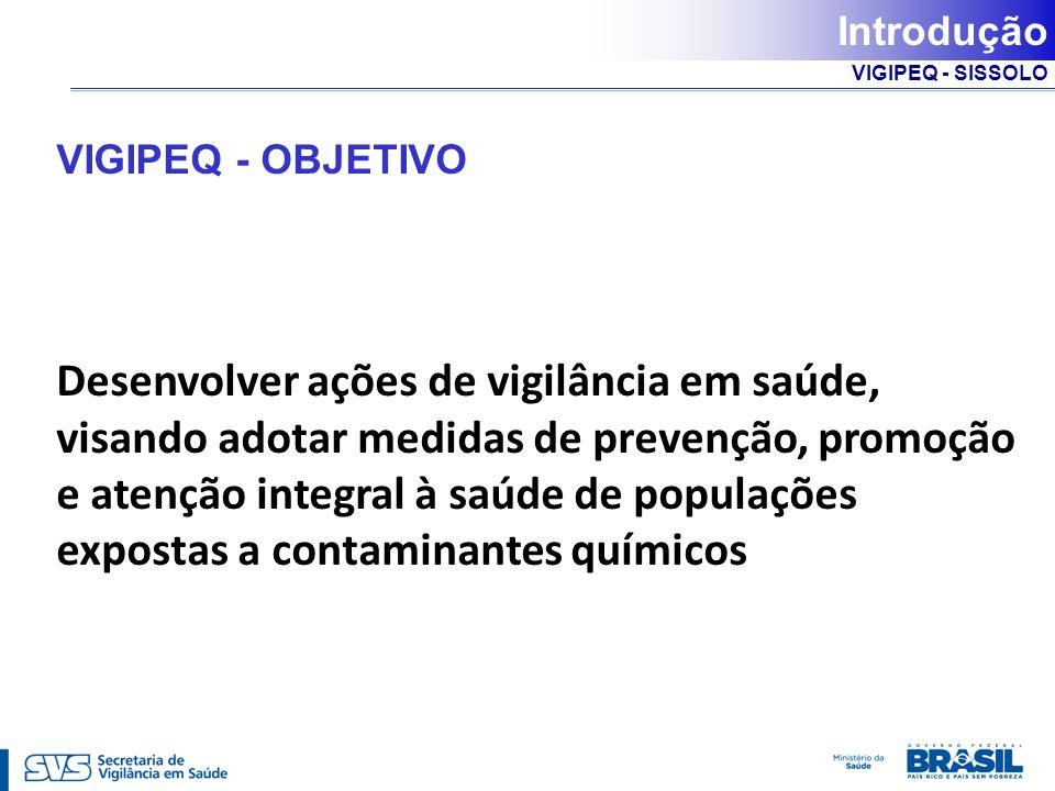 VIGIPEQ - SISSOLO VIGIPEQ - OBJETIVO Desenvolver ações de vigilância em saúde, visando adotar medidas de prevenção, promoção e atenção integral à saúd