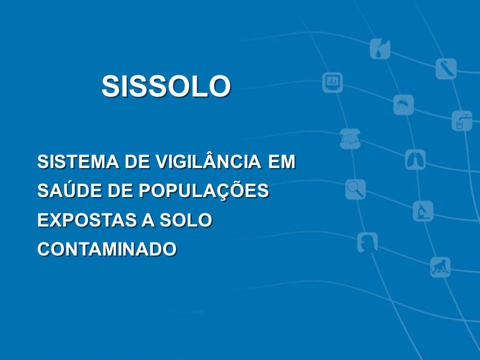 VIGIPEQ - SISSOLO SISSOLO SISTEMA DE VIGILÂNCIA EM SAÚDE DE POPULAÇÕES EXPOSTAS A SOLO CONTAMINADO SISSOLO SISTEMA DE VIGILÂNCIA EM SAÚDE DE POPULAÇÕE