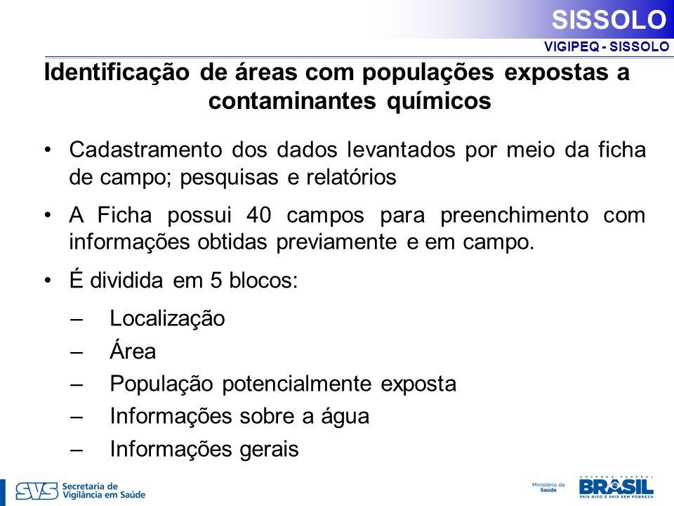 VIGIPEQ - SISSOLO PAVS Portaria nº 3.008/GM, de 1 de dezembro de 2009 Vigilância em Saúde Ambiental Ações do VIGIPEQ: Ação 3: Cadastrar áreas com populações expostas ou potencialmente expostas a solo contaminado por contaminantes químicos.