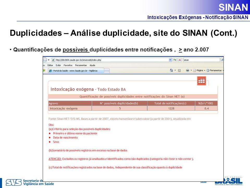 Intoxicações Exógenas - Notificação SINAN Duplicidades – Análise duplicidade, site do SINAN (Cont.) Quantificações de possíveis duplicidades entre not