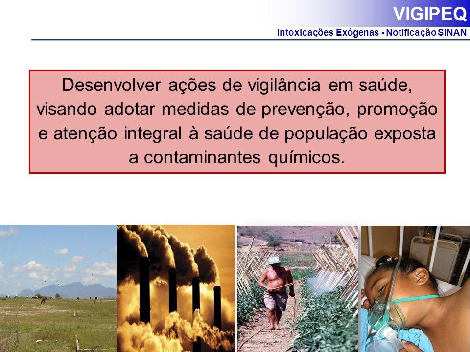 Intoxicações Exógenas - Notificação SINAN Desenvolver ações de vigilância em saúde, visando adotar medidas de prevenção, promoção e atenção integral à