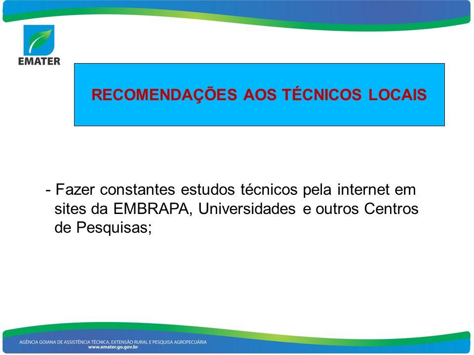 RECOMENDAÇÕES AOS TÉCNICOS LOCAIS - Fazer constantes estudos técnicos pela internet em sites da EMBRAPA, Universidades e outros Centros de Pesquisas;