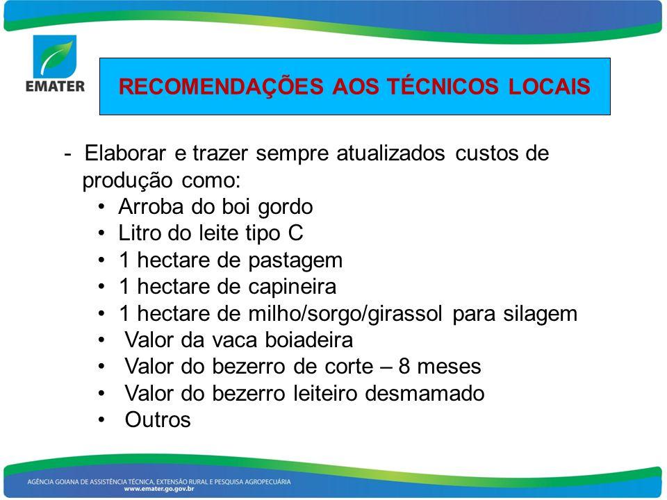 RECOMENDAÇÕES AOS TÉCNICOS LOCAIS - Elaborar e trazer sempre atualizados custos de produção como: Arroba do boi gordo Litro do leite tipo C 1 hectare