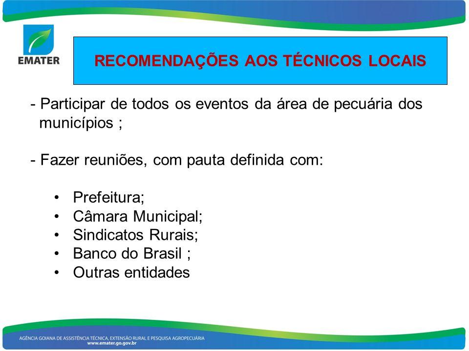 RECOMENDAÇÕES AOS TÉCNICOS LOCAIS - Participar de todos os eventos da área de pecuária dos municípios ; - Fazer reuniões, com pauta definida com: Pref