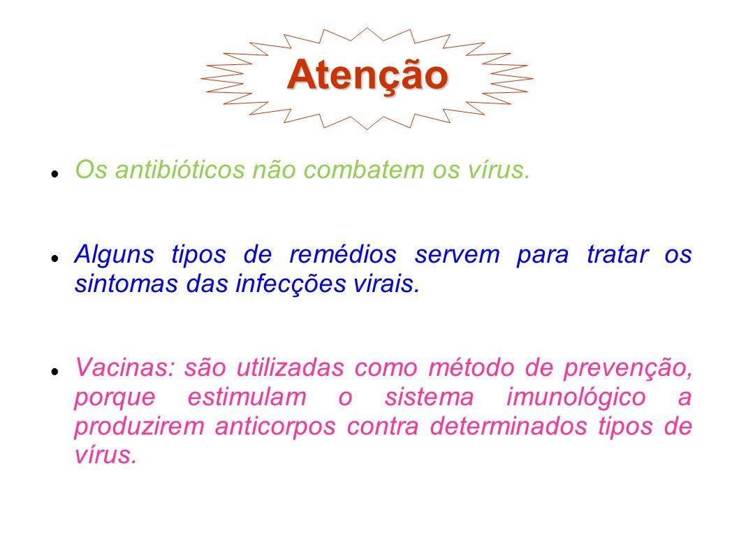 Atenção Os antibióticos não combatem os vírus. Alguns tipos de remédios servem para tratar os sintomas das infecções virais. Vacinas: são utilizadas c