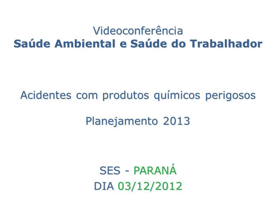 Videoconferência Saúde Ambiental e Saúde do Trabalhador Acidentes com produtos químicos perigosos Planejamento 2013 SES - PARANÁ DIA 03/12/2012