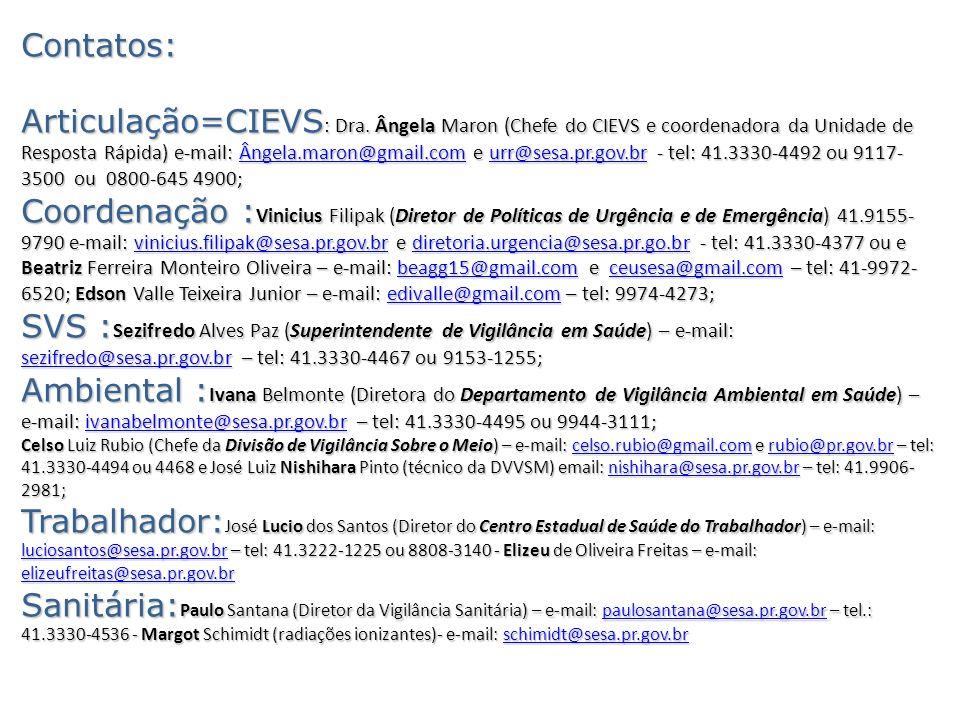 Contatos: Articulação=CIEVS : Dra. Ângela Maron (Chefe do CIEVS e coordenadora da Unidade de Resposta Rápida) e-mail: Ângela.maron@gmail.com e urr@ses