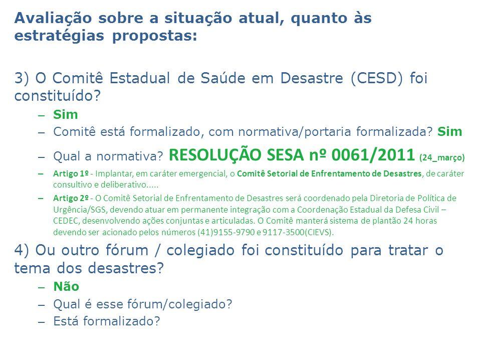 Avaliação sobre a situação atual, quanto às estratégias propostas: 3) O Comitê Estadual de Saúde em Desastre (CESD) foi constituído? – Sim – Comitê es