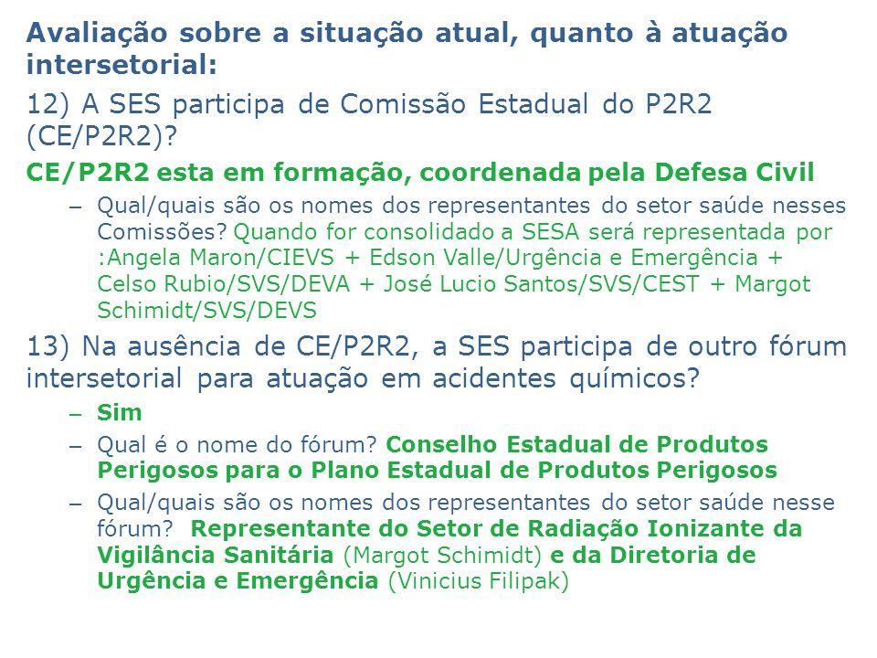 Avaliação sobre a situação atual, quanto à atuação intersetorial: 12) A SES participa de Comissão Estadual do P2R2 (CE/P2R2)? CE/P2R2 esta em formação