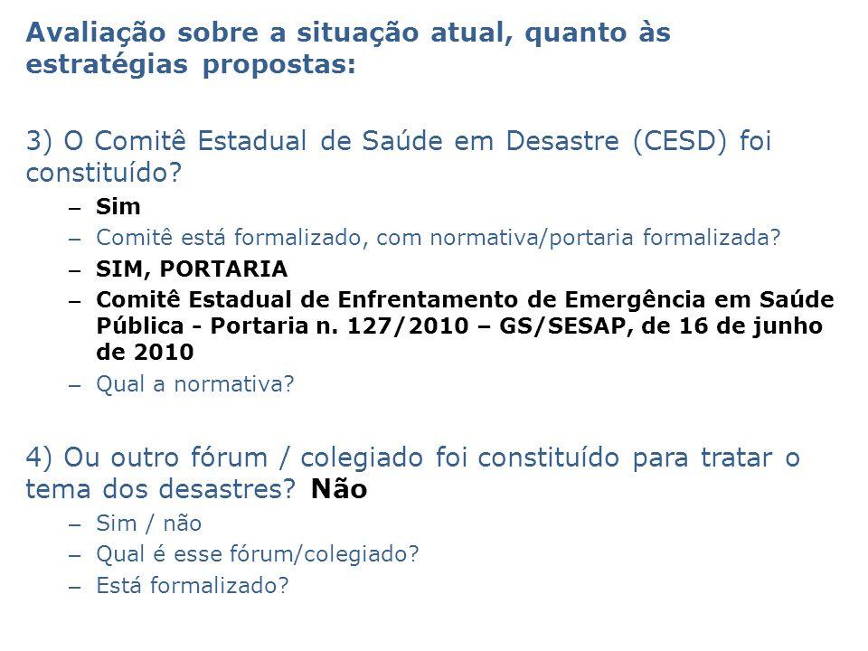 Avaliação sobre a situação atual, quanto às estratégias propostas: 3) O Comitê Estadual de Saúde em Desastre (CESD) foi constituído.