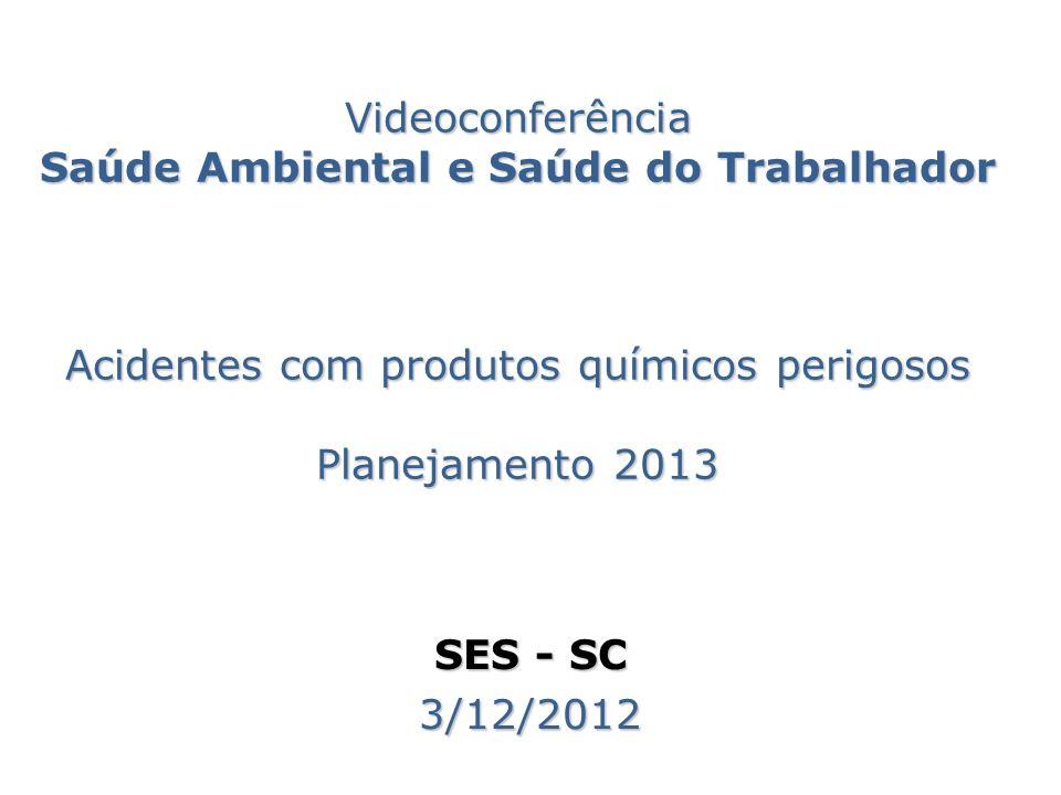 Videoconferência Saúde Ambiental e Saúde do Trabalhador Acidentes com produtos químicos perigosos Planejamento 2013 SES - SC 3/12/2012