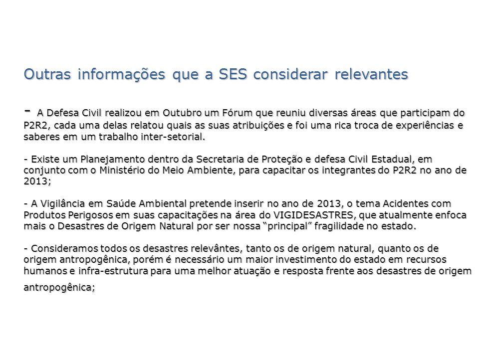 Outras informações que a SES considerar relevantes - A Defesa Civil realizou em Outubro um Fórum que reuniu diversas áreas que participam do P2R2, cad