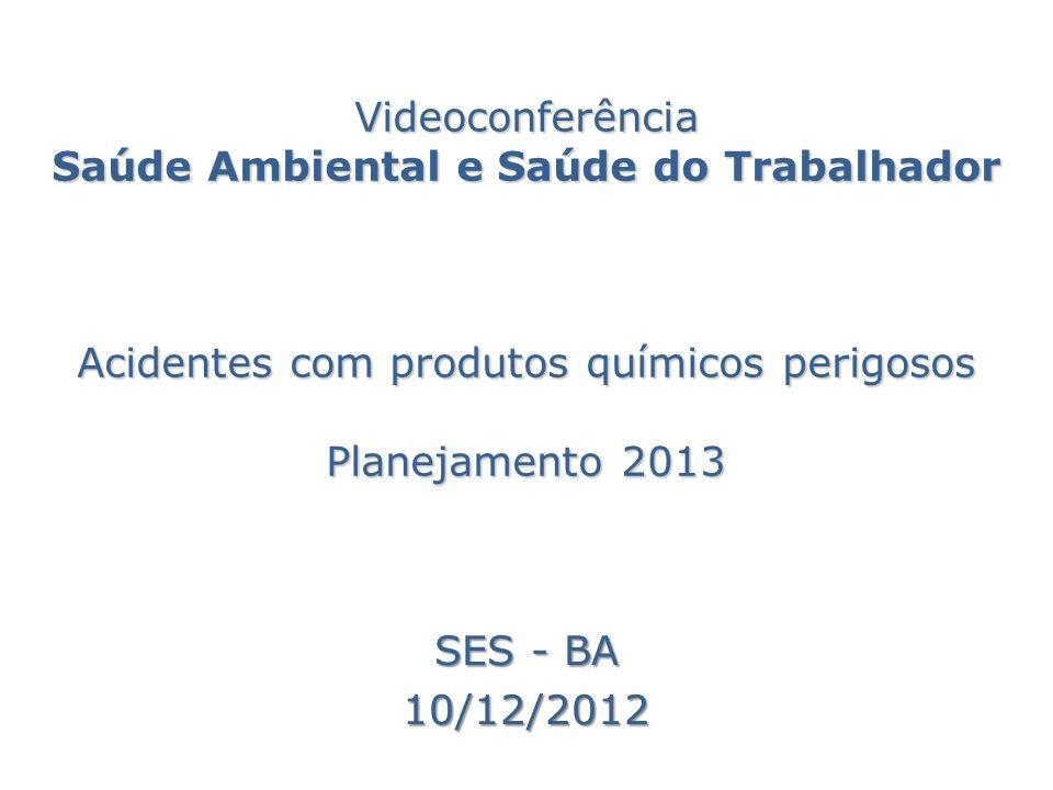 Videoconferência Saúde Ambiental e Saúde do Trabalhador Acidentes com produtos químicos perigosos Planejamento 2013 SES - BA 10/12/2012