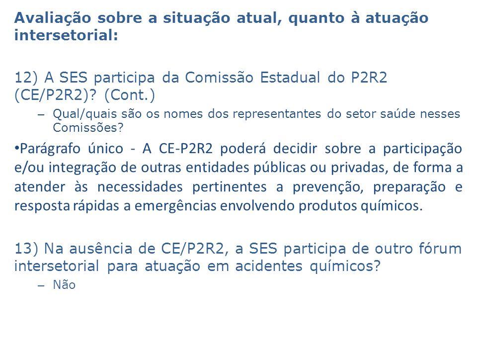 Avaliação sobre a situação atual, quanto à atuação intersetorial: 12) A SES participa da Comissão Estadual do P2R2 (CE/P2R2)? (Cont.) – Qual/quais são