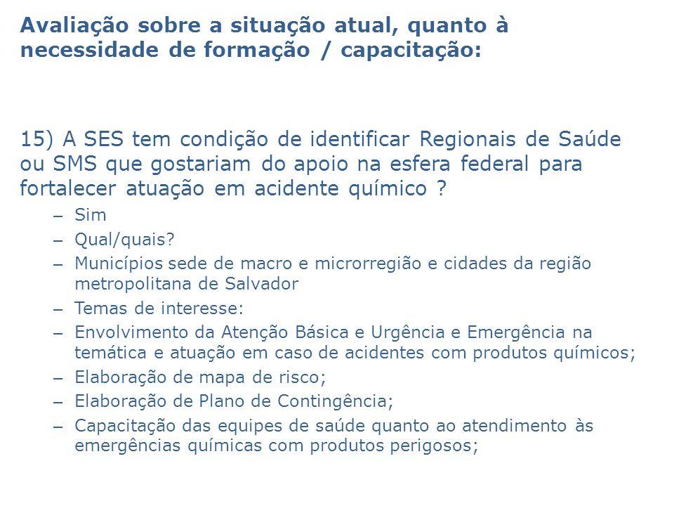 Avaliação sobre a situação atual, quanto à necessidade de formação / capacitação: 15) A SES tem condição de identificar Regionais de Saúde ou SMS que