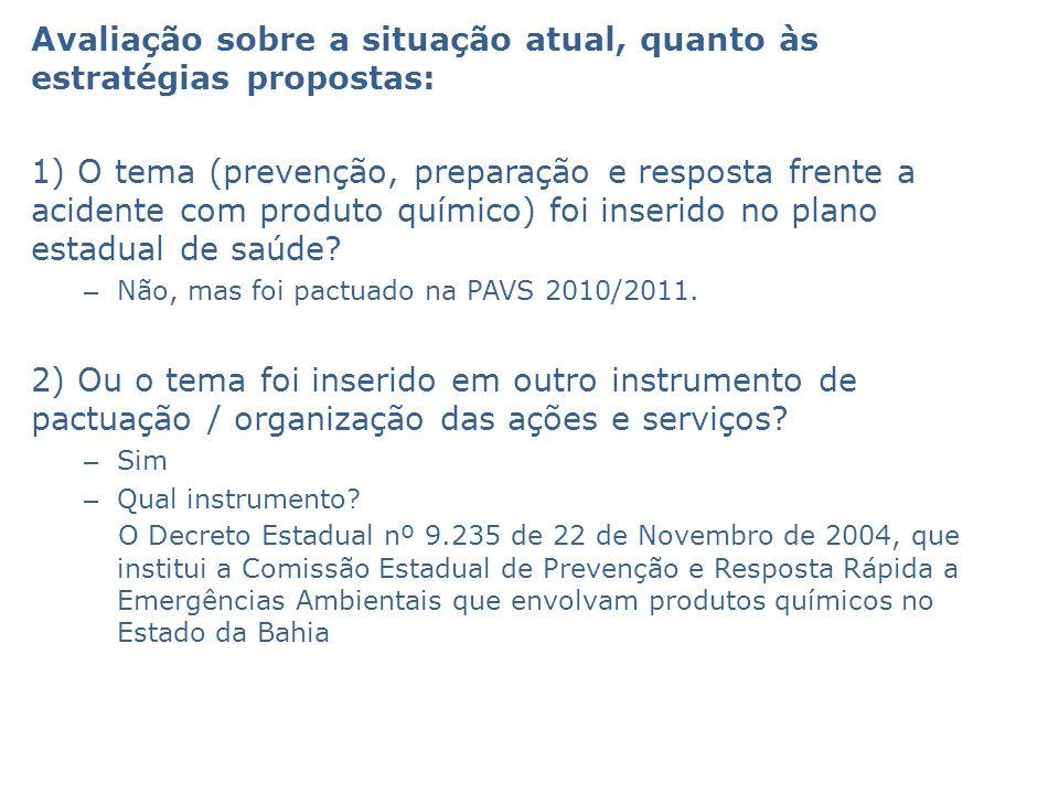 Avaliação sobre a situação atual, quanto às estratégias propostas: 1) O tema (prevenção, preparação e resposta frente a acidente com produto químico)