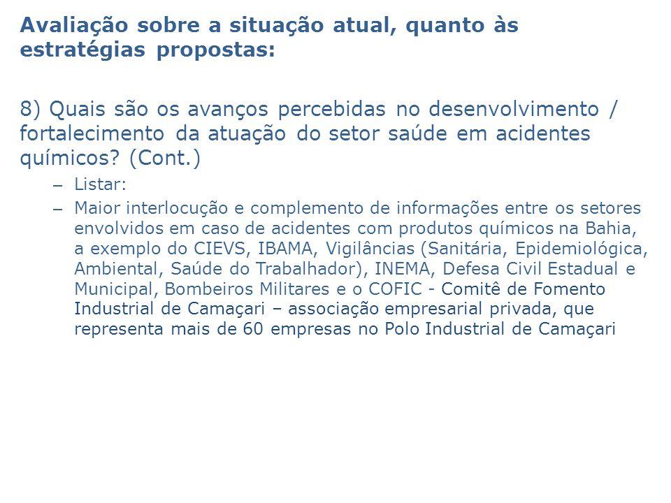 Avaliação sobre a situação atual, quanto às estratégias propostas: 8) Quais são os avanços percebidas no desenvolvimento / fortalecimento da atuação d