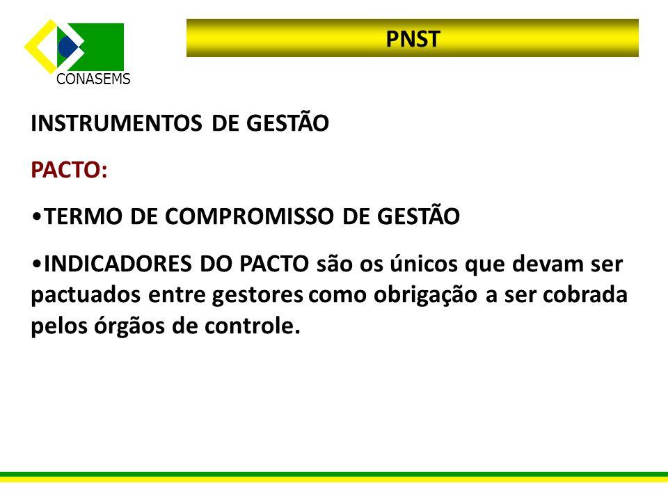 CONASEMS PNST INSTRUMENTOS DE GESTÃO PACTO: TERMO DE COMPROMISSO DE GESTÃO INDICADORES DO PACTO são os únicos que devam ser pactuados entre gestores c