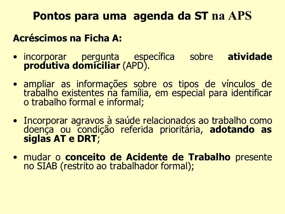 Pontos para uma agenda da ST na APS Acréscimos na Ficha A: incorporar pergunta específica sobre atividade produtiva domiciliar (APD). ampliar as infor