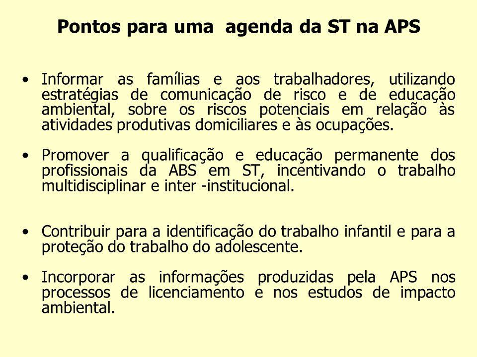 Pontos para uma agenda da ST na APS Informar as famílias e aos trabalhadores, utilizando estratégias de comunicação de risco e de educação ambiental,