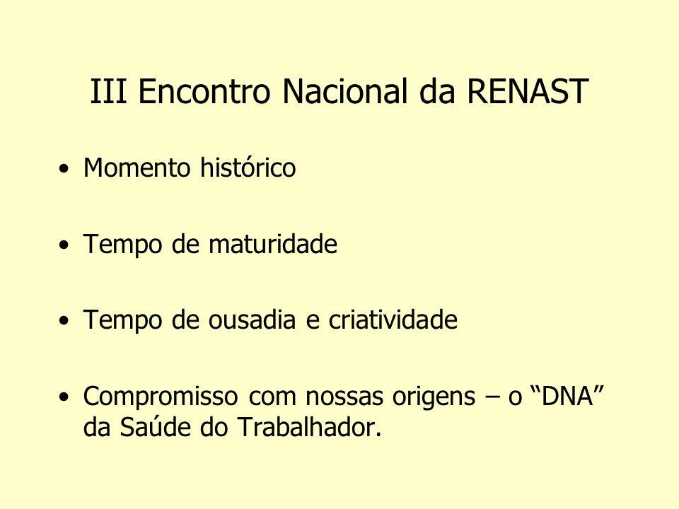 III Encontro Nacional da RENAST Momento histórico Tempo de maturidade Tempo de ousadia e criatividade Compromisso com nossas origens – o DNA da Saúde