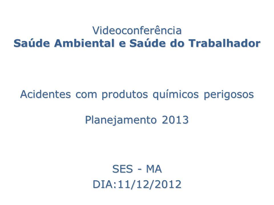 Videoconferência Saúde Ambiental e Saúde do Trabalhador Acidentes com produtos químicos perigosos Planejamento 2013 SES - MA DIA:11/12/2012