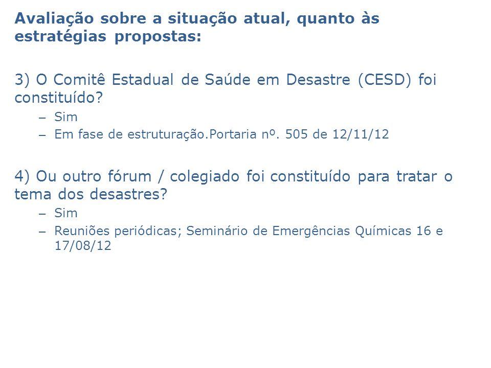 Avaliação sobre a situação atual, quanto às estratégias propostas: 3) O Comitê Estadual de Saúde em Desastre (CESD) foi constituído? – Sim – Em fase d