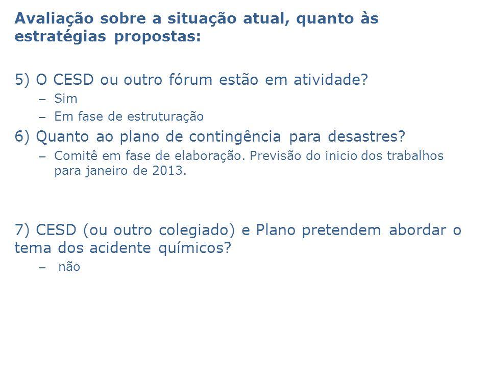 Avaliação sobre a situação atual, quanto às estratégias propostas: 5) O CESD ou outro fórum estão em atividade? – Sim – Em fase de estruturação 6) Qua