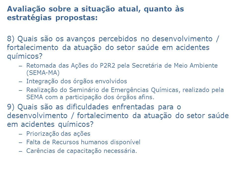Avaliação sobre a situação atual, quanto às estratégias propostas: 8) Quais são os avanços percebidos no desenvolvimento / fortalecimento da atuação do setor saúde em acidentes químicos.