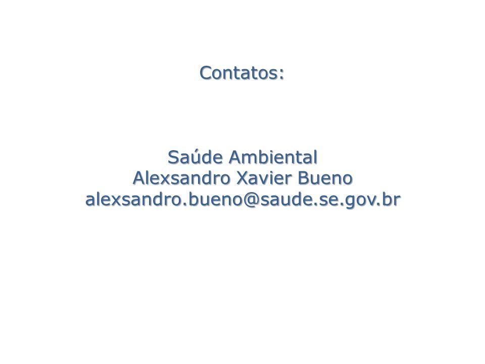 Contatos: Saúde Ambiental Alexsandro Xavier Bueno alexsandro.bueno@saude.se.gov.br