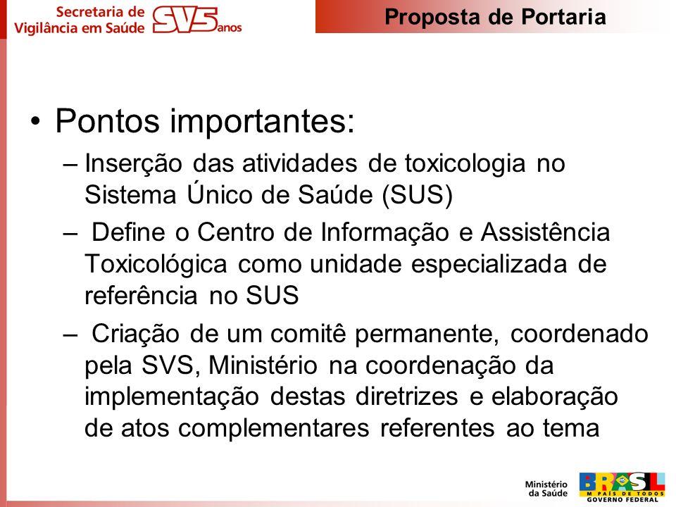 Pontos importantes: –Inserção das atividades de toxicologia no Sistema Único de Saúde (SUS) – Define o Centro de Informação e Assistência Toxicológica